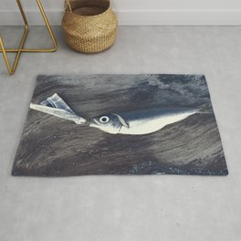 Fish and Newspaper on Wood Rock Surreal Collage Modern Animal Art Rug