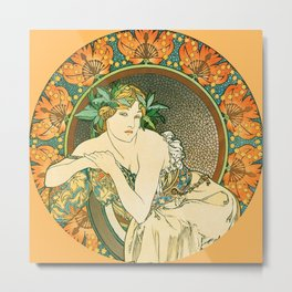 "Alphonse Mucha ""Woman with Poppies"" Metal Print"