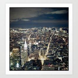 NYC Building at Night Art Print