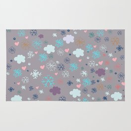 Rustic illustration flowers and clouds Rug