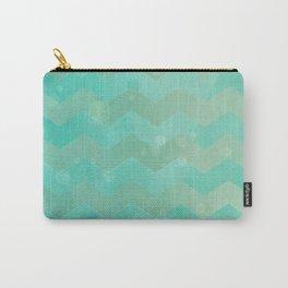 Seafoam Watercolor Chevron Carry-All Pouch