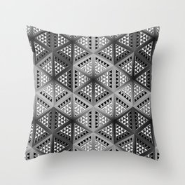 Monochrome decorative panels, with geometric patterns in the style of cubism. Throw Pillow