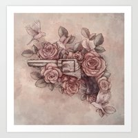 Guns & Flowers Art Print