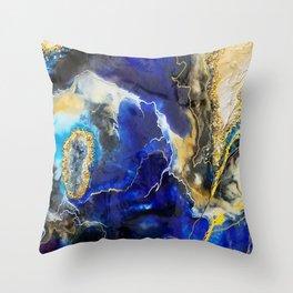Blue Map Throw Pillow