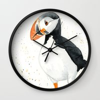 puffin Wall Clocks featuring Puffin by Priscilla George