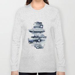 Indigo Abstract Watercolor No.1 Long Sleeve T-shirt