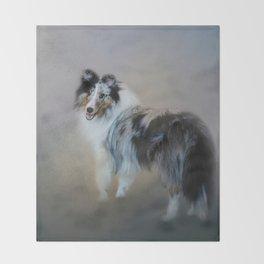Did You Call Me - Blue Merle Shetland Sheepdog Throw Blanket