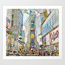 NYC Life in Times Square Art Print