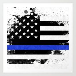 Distressed Thin Blue Line American Flag Art Print