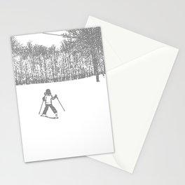 Little Skier II Grey Stationery Cards