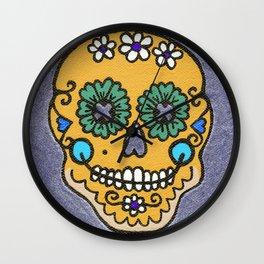 Dia De Los Muertos Mexican Sugar Skull Yellow ish Wall Clock