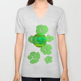 GREEN FLOWER IN POMP Unisex V-Neck