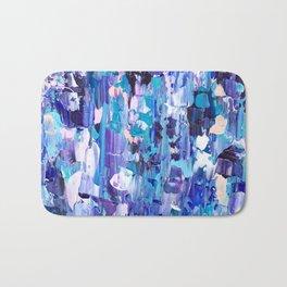 Modern blue acrylic abstract painting brushstrokes Bath Mat