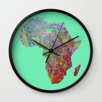 africa Wall Clocks featuring Africa by mthbt