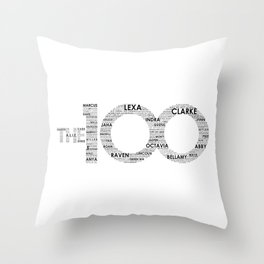 The 100 - Typography Art [black text] Throw Pillow
