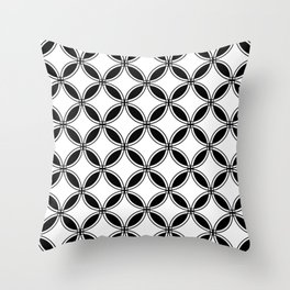 Large White Geometric Circles Interlocking on Black Background Throw Pillow