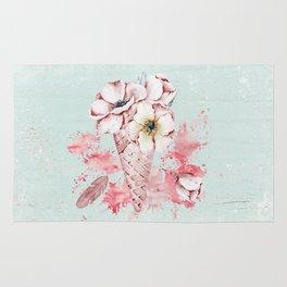 Pink & Teal Summer Fun Flower Ice Cream Waffle -Illustration Rug