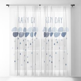 Rainy Day art print Sheer Curtain