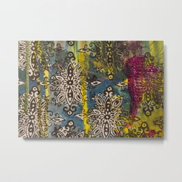 Scrambled Design in Teal, Yellow and Magenta Metal Print