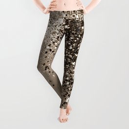 Sparkling Sepia Lady Glitter #1 #shiny #decor #art #society6 Leggings