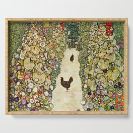 Gustav Klimt Garden Path With Chickens Serving Tray