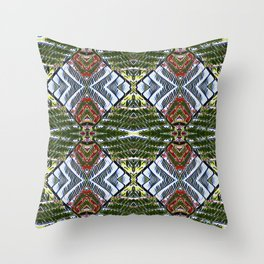 Royal Poinciana Fronds Diamond OP Pattern Throw Pillow