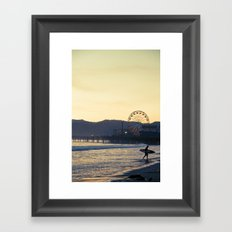 Santa Monica Surfer Framed Art Print