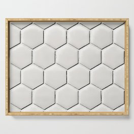 White Hex Serving Tray