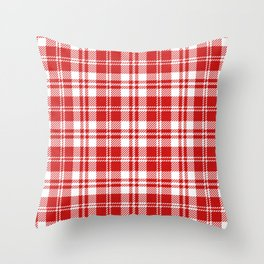Cozy Plaid in Red and White Throw Pillow