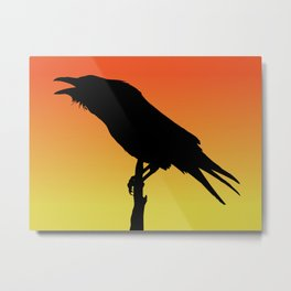 Common Raven Silhouette at Sunset Metal Print