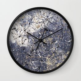 Orion - Jackson Pollock style abstract drip painting by Rasko Wall Clock