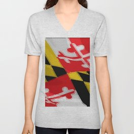 Maryland Fancy Flag Unisex V-Neck