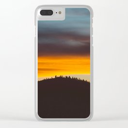 Mountain Hill With Trees Orange And Blue Sunset Clouds Clear iPhone Case