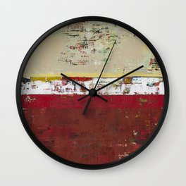 Buffalo Indian Red Burgundy Modern Abstract Art Wall Clock