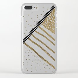 Geometrical white faux gold black stripes polka dots Clear iPhone Case