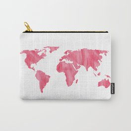 World Map Pink Watercolor Carry-All Pouch