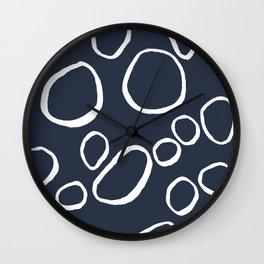 Daisy Circles Navy Wall Clock