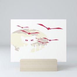 Halloween Graveyard Black Cat Moon Bats Mini Art Print