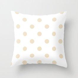 Tan & White Polka Dots Throw Pillow