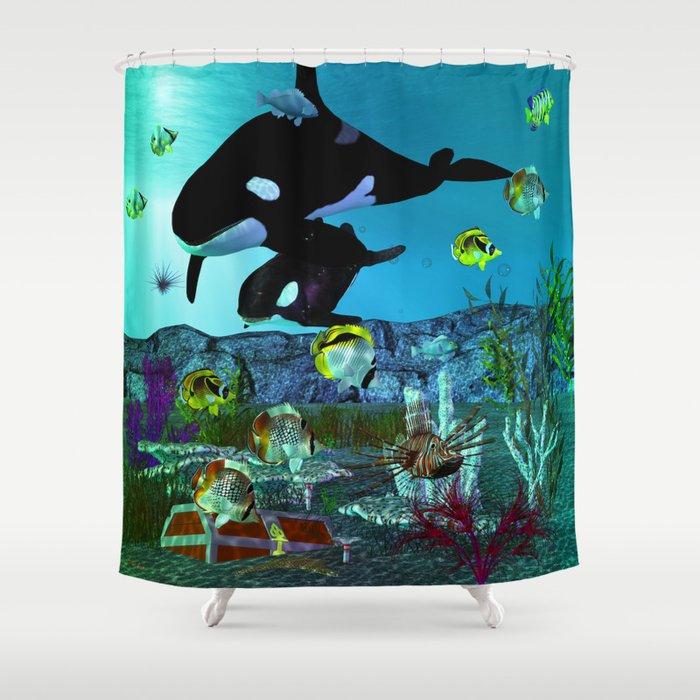 Exploration 3D Aquarium ORCA Shower Curtain By Bohemianbound