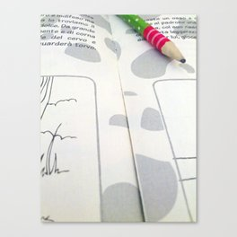 A child's textbook and a pencil Canvas Print