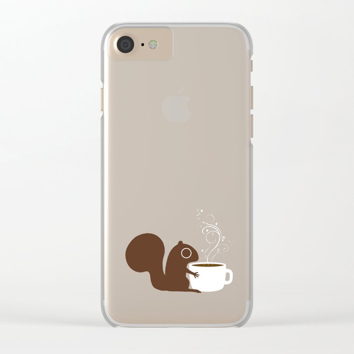Squirrel Coffee Lover Clear iPhone Case