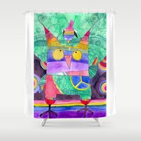 hippie Shower Curtains featuring Hippie Owl by Mesterpieces