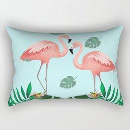 Two Flamingo Trops Blue Rectangular Pillow