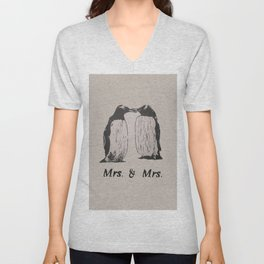 Wedding Penguins (Mrs. & Mrs.) Unisex V-Neck