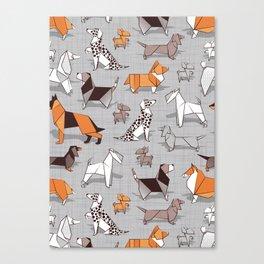 Origami doggie friends // grey linen texture background Canvas Print