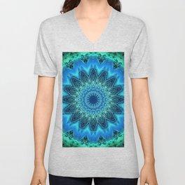 Bright Blue Green Detailed Mandala Unisex V-Neck