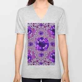 Amethyst Purple Gems February Birthstones Unisex V-Neck