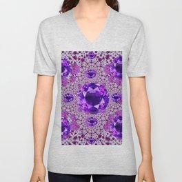 Amethyst Purple Gems February Birthstones Unisex V-Neck