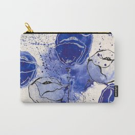 Blue and White Splotch Flowers Carry-All Pouch